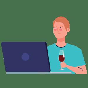 man drinking wine on a webinar