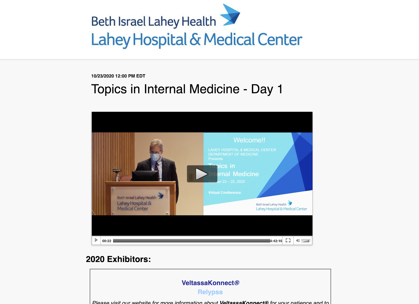 Lahey Hospital & Medical Health Center worked with BeaconLive to produce and deliver a Live, Multi-Day, CME Webcast experience for over 100 attendees.
